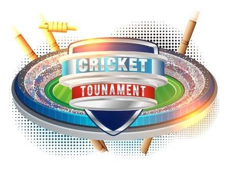 Vector of cricket championship poster or banner design with wood cricket bats and ball