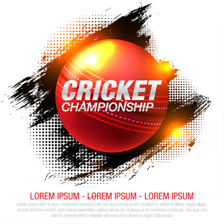 illustration of batsman and bowler playing cricket championship sports 矢量图像
