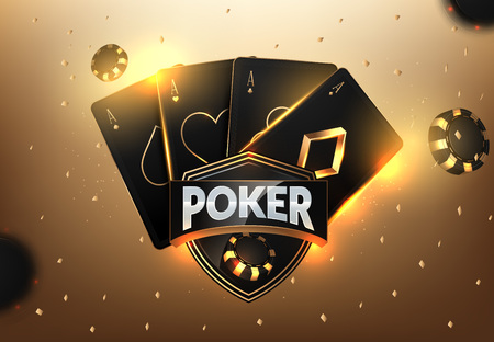 Progettazione del modello del torneo di gioco d'azzardo del casinò con carte da gioco realistiche e fiches del casinò su sfondo nero bokeh