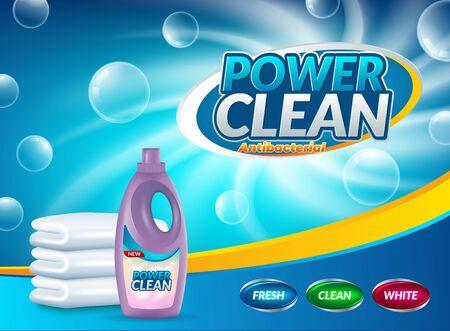 Affiche publicitaire de détergent à lessive en poudre. Illustration réaliste de vecteur