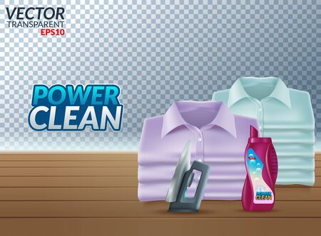 Powder laundry detergent advertising poster. Vector realistic illustration