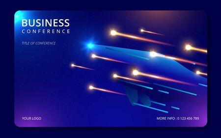 Plantilla de diseño de conferencias. Conocimiento de los negocios. Elementos coloridos. Conferencia de anuncios. Diseño de portada abstracta. Ilustración vectorial