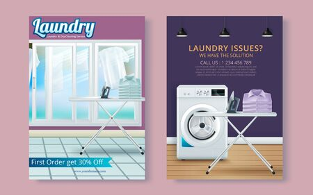 Vector Laundry Service Flyer Magazine Cover, Poster Template Illustration