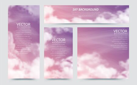 A set of flyers with realistic sky and cumulus clouds. The image can be used to design a banner and postcard. Vector illustrations