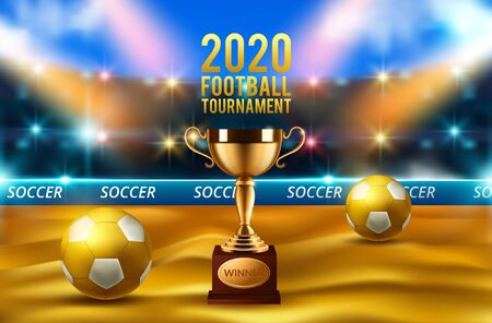 football 2020 world championship cup background soccer. Realistic 3d ball Иллюстрация