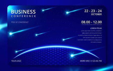 Invitación de plantilla simple de conferencia de negocios. Banner de diseño de reunión de negocios de conferencia de revista geométrica o cartel