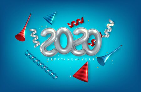 Happy New 2020 Year. Vector holiday illustration. Paper 3d numbers on white abstract topography background