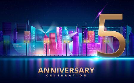 5 years anniversary invitation card. celebration template design with futuristic city. Vector illustration