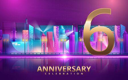 6 years anniversary invitation card. celebration template design with futuristic city. Vector illustration Foto de archivo - 130139867