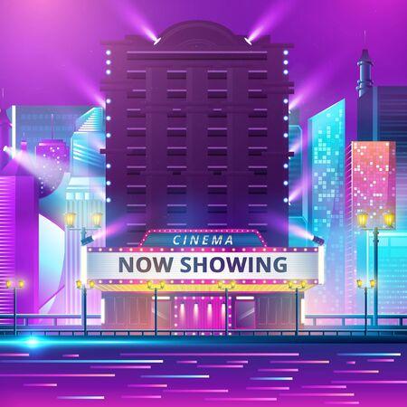 Cinema theatre building exterior. Movie entrance with retro light marquee banner vector illustration