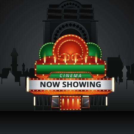 Cinema building vector illustration on background of city. Vector illustration