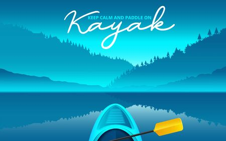 kayak vector illustration, kayaking water sport. Vector illustration