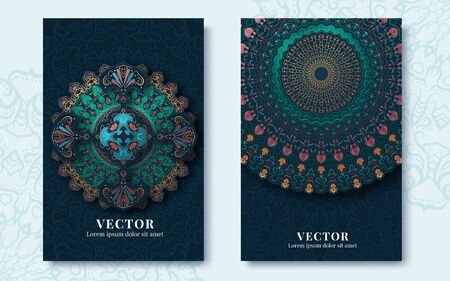 Vintage greeting cards with swirls and floral motifs in retro style. Template frame design for card. Vector illustration