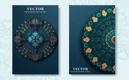 Vintage ornate cards in oriental style. Vector illustration