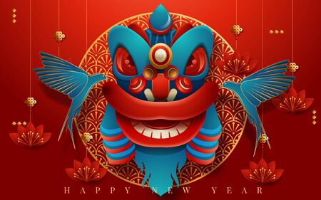 Traditional lunar year background with hanging lanterns, red color paper art style background. Translation : Happy New Year. Vector illustration