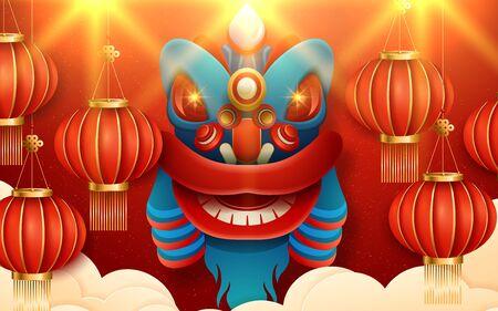 Paper art lanterns decoration for lunar year banner red color background. Translation : Happy New Year. Vector illustration Illusztráció