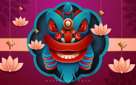 Happy New Year 2020. Chinese New Year. The year of the rat. Translation : Happy New Year. Vector illustration