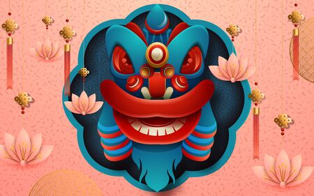 Chinese hanging red lantern, blue background in paper art style. Translation : Happy New Year. Vector illustration