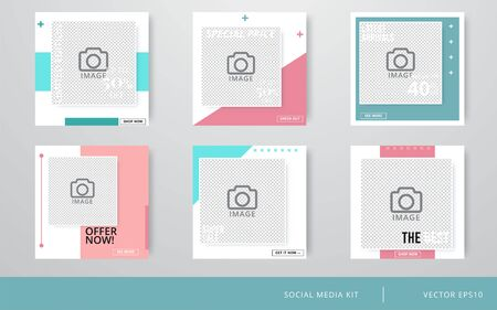 Editable Post Template Social Media Banners for Digital Marketing. Promo Brand Fashion. Stories. Streaming. Vector illustration 矢量图像