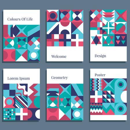 Skandynawski Plakat Kolorowe Tło Tapeta dekoracyjna z geometrycznym pogrubionym prostym blokiem w jasnym kolorze. ilustracja wektorowa