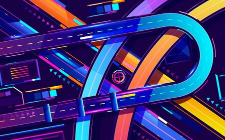 Metropolis night freeway neon colors, top view cartoon vector. Vector illustration