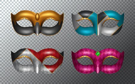 Set of Mardi gras masks isolated on white background. Vector illustration