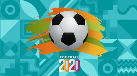 vector illustration. European football cup 2020. ball graphic design on a Turquoise background. Vector illustration