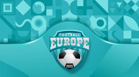 Vector Illustration. European Football Cup 2020.  Realistic Soccer Ball On A Blue Background. Vector illustration