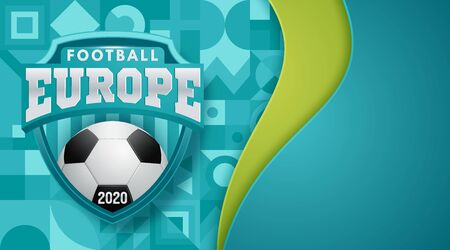 Soccer European championship. 2020 Abstract Turquoise dynamic background soccer banner Football. Vector illustration