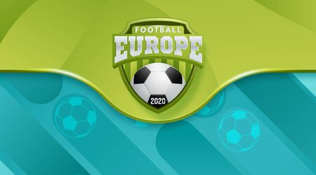 Vector Illustration. European Football Cup 2020. Logo Realistic Soccer Ball On A Blue Background. Vector illustration Stock Illustratie