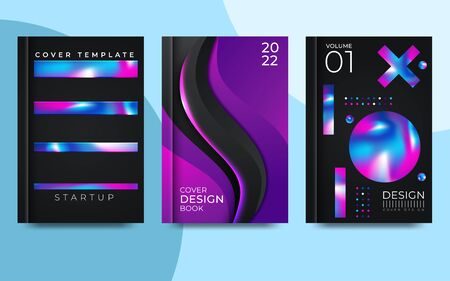 Vector colorful neon poster set. Abstract background with liquid gradient. Vector illustrator