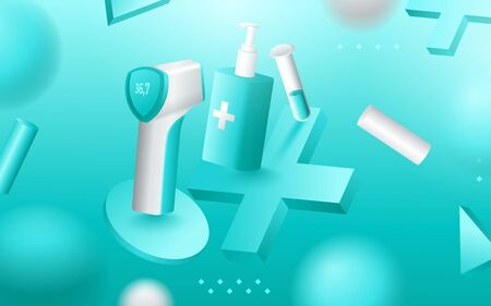 Medical tools, doctor therapy and treatment items. vector illustration