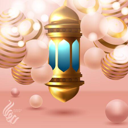 Beautiful greeting card design with hanging illuminated. Vector illustrator Vettoriali