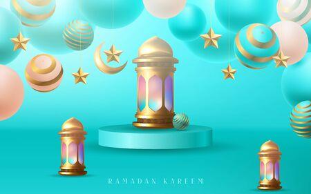 Ramadan kareem poster, golden Arabic calligraphy design. Vector illustrator