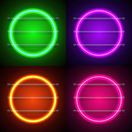 Neon sign. Square frame with glowing and light. vector illustration Stock Illustratie
