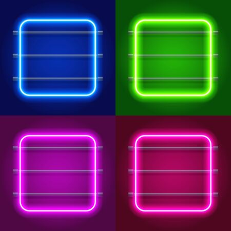 Neon Lights Round Frames Set for Your Custom Banner. vector illustration