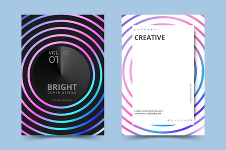 Holographic poster set. Abstract backgrounds. Futuristic holographic poster with gradient mesh. Vector illustration Stock Illustratie