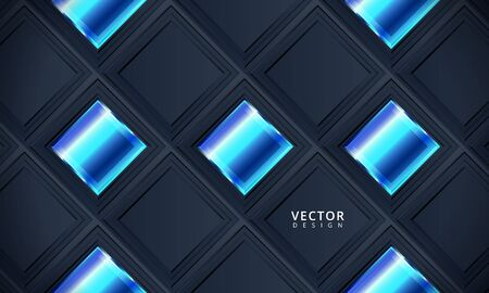 Dark blue corporate tech art. Vector illustration