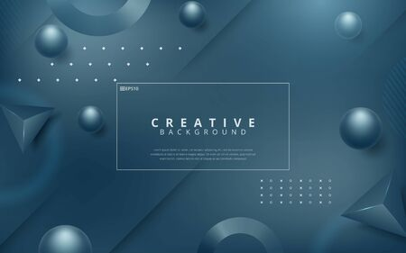 futuristic dark fluid style background with frame and abstract graphic elements. Vector illustration Stock Illustratie
