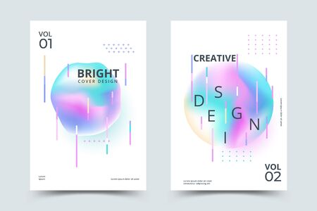 Bauhaus cover set with liquid shapes. Dynamic holographic fluid with gradient. Vector illustration Stock Illustratie