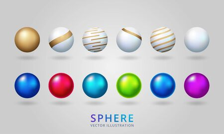 Shiny pearl isolated on transparent background. Multicolored orbs, spherical balls and 3D circle glass buttons. Vector illustration