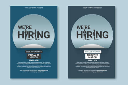 Hiring recruitment design poster. Vector Illustration