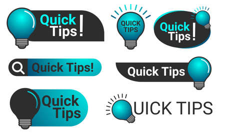 Simple Quick Tips badge with light bulb Иллюстрация