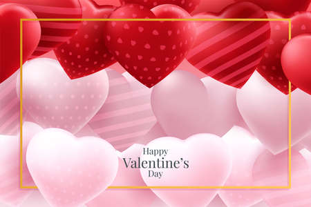 Valentine's day background with heart balloons Иллюстрация