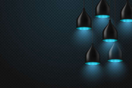 Set of realistic glowing lamp hanging on the wire Иллюстрация