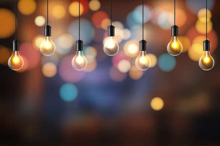 Abstract background. Glowing light bulbs design