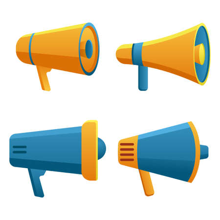 isolated megaphone in different colors