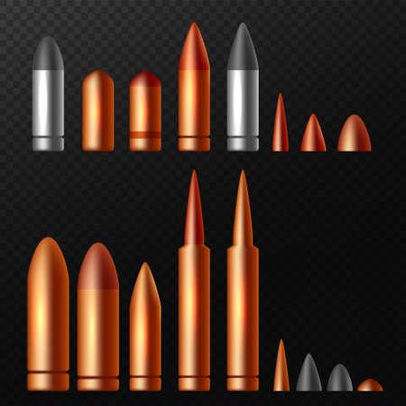Set of bullets on black background