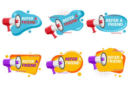 Referral program labels with loudspeaker
