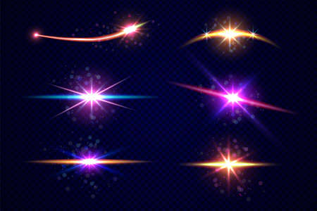 Stars and planet set isolated on transparent background Иллюстрация